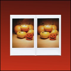 Autumn pinhole in 3-D (art y fotos) Tags: film hawaii back stereoscopic 3d lomography oahu handmade pumpkins mini bamboo pinhole persimmons stereo diana pack homemade instant honolulu toycameras jackolanterns bambole homebound kaki instax pencilsharpener debonair stereographic fpp dianainstantback filmphotographypodcast bamboopinholecamera filmphotographyproject plasticfilmtastic120 fppdebonair filmtasticplasticinstax lebambolemkx pinstanair
