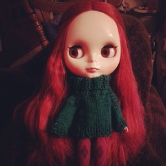 Lia in her sweater I knitted today