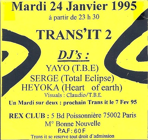 "Patrice Heyoka - Flyer 24/01/1995 - ""Trans It 2"" @ Rex Club (Paris) <a style=""margin-left:10px; font-size:0.8em;"" href=""http://www.flickr.com/photos/110110699@N03/11324802604/"" target=""_blank"">@flickr</a>"