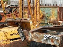Dead Metal (mikecogh) Tags: metal rust industrial cables bent wreck brand scrap steeringwheel numberplate forklift ottoway hyster