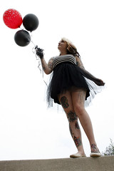 Tiffany Rowe (Little Ones Photography) Tags: blackandwhite bw black balloons hearts pretty balloon floating tattoos dayton carriagehill daytonohio girlwithtattoos vision:outdoor=0949