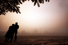 ... | Being with you... (Kals Pics) Tags: life trees sky people sculpture woman india mist man history love monument weather silhouette fog architecture river wonder landscape hope construction nikon affection culture belief sigma tajmahal agra landmark valentine tradition care legend mythology myth historiccity adoration shahjahan cwc sigma1020mm uttarpradesh travelphotography mumtaz yamuna ancientcity 7wonders lordshiva incredibleindia nikond40 silhouettephotography kalspics chennaiweelendclickers vision:sunset=0685 vision:sky=0935 vision:clouds=0706