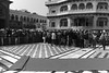 Devotees in a long queue inside the Golden Temple in Amritsar (Ashish A) Tags: india building canon buildings carpet religious temple asia religion crowd queue sikh devotee devotees amritsar digitalslr sikhism goldentemple canoncamera religioussymbol akaltakht goldentempleinamritsar canon650d canont4i peopleinaqueue peoplewearingturbans meninaqueue peopleinsidegoldentemple metalseparators queuesformenandwomen