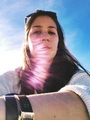 (sayokoms) Tags: blue sunset sea sky sun bird beach girl rock clouds oregon self hair fly sand waves wind haystack uploaded:by=flickrmobile flickriosapp:filter=nofilter