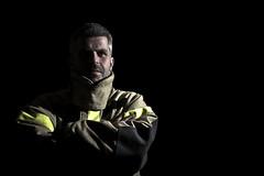 (Jonas Kiplesund) Tags: shadow portrait norway fire fighter harsh speedlite