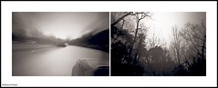 Winter driving III (DelioTO) Tags: city toronto ontario canada car composite landscape blackwhite woods trails pinhole april 6x9 acros100 f227 autaut ro9