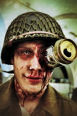 Zombie Soldier (Toni Kaarttinen) Tags: eye beer night soldier army spring blood uniform sweden stockholm zombie schweden helmet culture can lips sverige estocolmo culturenight stoccolma suecia suède tukholma svezia ruotsi armymuseum zombieattack kulturnatt kulturnatt2014