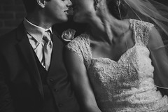 < > (MightyBoyBrian) Tags: wedding blackandwhite love groom bride kiss veil tie suit grandrapids noeyes 50mmf12 canon5dmark3