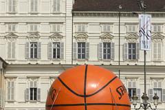 O (Zioluc) Tags: orange basketball ball giant torino basket outdoor huge turin piazzacastello spalding luciobeltrami