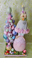 """Shabby Chic Pastel Easter Chick with Bottle Brush Tree (Laughter and Lemondrops) Tags: house"""" laughterandlemondrops vintage christmas ornament wreath santa halloween holiday decor putz house german die cut bottle brush tree village miniature elf pixie shelf gnome fairy garden pearl earrings costume jewelry martha stewart donald trump facebook instagram twitter etsy ebay justin timberlake disney mickey mouse lemondrops2011 laughterandlemondrop victorian shabby chic rustic"""