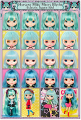 Neo Blythe Comparison: Hatsune Miku Meets Blythe - Eclectic Super Idol (Hatsune/first), Miss Sally Rice (MSR/second), Wendy Weekender (WeWe/third), and Mandy Cotton Candy (MaCoCa/last)