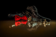 After The Party (waynedavey67) Tags: red stilllife canon reflections shoes flash watch bowtie rings gel 6d 1635mmlf4