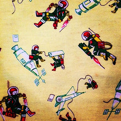 Space Age Fabric (Pennan_Brae) Tags: vintage fifties space rocketman astronaut retro fabric astronauts 1950s blanket spaceman spaceship 50s spaceage