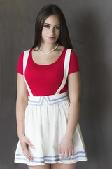 scd 14xpro (BarryKelly) Tags: red white girl dark hair top skirt suspender