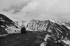 Slippery Roads pt. 2 (Shakti Priyan Nair) Tags: road trip blackandwhite white mountain snow black mountains monochrome landscape cloudy outdoor pass snowcapped roads leh ladakh khardungla enroute highest clouded motorable