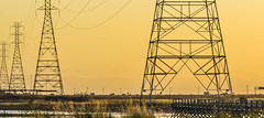 shrinking targets (pbo31) Tags: california bridge sunset panorama orange color silhouette yellow evening bay spring nikon traffic salt may large panoramic powerlines bayarea marsh eastbay hayward stitched alamedacounty sanmateobridge 2016 boury pbo31 d810