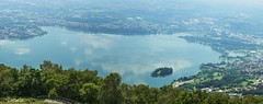 Panoramica # (D.C photo) Tags: morning blue italy mist mountain lake nature water island tripod panoramic lombardia pusiano isola carlzeiss sonya7