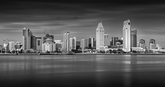San Diego Skyline (Foto-Mike) Tags: ocean california longexposure 2 6 white black water skyline silver big san downtown cityscape sandiego head tripod diego southern filter lee pro nik density manfrotto stopper lightroom neutral efex nd110 055xprob 808rc4