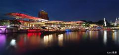 Clarke Quay (Ken Goh thanks for 2 Million views) Tags: lighting blue reflection water night river boats lights singapore long exposure colours pentax sigma scene quay full hour frame colourful 1020 clarke k1