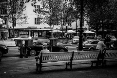 Enjoy the lonleyness (TheKrippi) Tags: street old city summer people blackandwhite bw sun berlin bench relax blackwhite alone streetphotography single enjoy kudamm lowkey runningaway pensioner