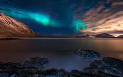 Aurora Over Sandbotnen (explored) (hpd-fotografy) Tags: arctic aurora flakstadya lofoten northernlights norway beach cold longexposure night seascape snow stars water winter ~themagicofcolours~ii