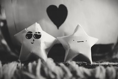 DEEP ADMIRATION (jeremiahwilson) Tags: shadow blackandwhite love youth contrast stars relax fun toy photography star origami dof heart emotion bokeh smooth young adorable relationships chill feels