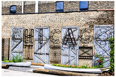 Chicago And Two Canoes (swanksalot) Tags: chicago sign wall canoe publicart planter westloop westtown