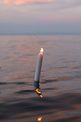 Kerze im See (Faldrian.) Tags: lake water fire see wasser candle kerze bodensee feuer reflektion