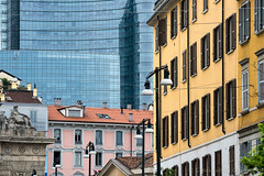 Milan (Italy), old and modern buildings (clodio61) Tags: street city urban italy milan color building window glass architecture modern skyscraper square photography europe day cityscape exterior outdoor palace garibaldi lombardy aulenti