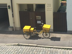 Can't get enough of the variety and ubiquity of postal work bikes in Germany (fiftybybike) Tags: workbike