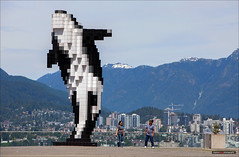 Breached (Clayton Perry Photoworks) Tags: people canada art vancouver spring bc pixel whale douglascoupland conventioncentre northvancouverskyline dailyhivevan