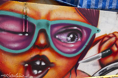 Street Art - Khaosan Road (by claudine) Tags: world streetart silly architecture dark asian thailand glasses interesting travels funny asia paint photos bangkok unique knife culture tourist spray exotic nightmarket thai wink attraction whimsical customs expat khaosanroad travelphotography nightbazaar byclaudine