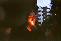 F. (fluorescentlama) Tags: f federica mambrini foto analogica analogic mangiafuoco red black olympusom1 24mm28 fluorescentlama francesco fire smoke bitches gtfo architecture milano portrait tortona navigli