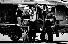 President Barack Obama salutes as he exits Marine One with the First Family at Castle Airport in Atwater, Calif., Sunday, June 19, 2016. The First Family flew out of Castle on Air Force One after visiting Yosemite National Park. (Andrew Kuhn) Tags: california park family castle one airport marine military chief united president salute first national atwater yosemite states obama commander potus barack