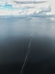 Traces (wiedenmann.markus) Tags: above sea water denmark photography boat ship sweden air silence oeresund