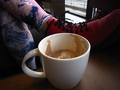 Coffee Cups. (Pagynwb) Tags: pink red hot cup coffee shop shoe cafe shoes purple boots tea drink lace starbucks drinks barista leggings starbuck legging