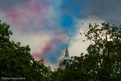Red white and blue smoke over St Pauls. (Dave Pearce (London)) Tags: sky london st colours smoke pauls