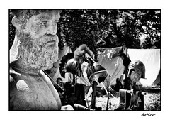 Old times (Artico7) Tags: old blackandwhite bw italy history monochrome face statue rock metal stone beard lost fight ancient war fuji roman steel helmet traditions honor gone romano copper historical brass pietra protection statua antico viso barba biancoenero helm helmets rievocazionestorica friuli udine aquileia historicalreenactment blachwhite xe1