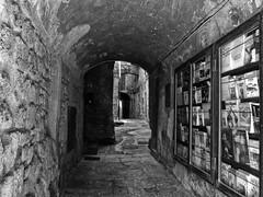 """ Books on the bulletin board "" (pigianca) Tags: bw italy monochrome blackwhite volterra books libri vetrina passaggio ricohgriv"
