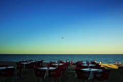 Sunset at the beach (Fnikos) Tags: blue sunset sea people sun seascape beach skyline table seaside outdoor seagull seat shore serene