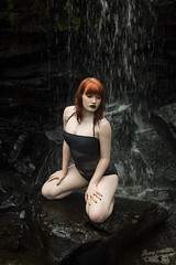 Dark Falls (Laynachu) Tags: nature beauty canon dark outdoors ginger waterfall model natural modeling gothic goth models naturallight cheeky pale redhead canon5d lipstick elegant onepiece swimsuit swimwear wate canon5dmarkiii