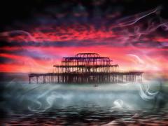 Smoke on the Water (abstractartangel77) Tags: sea water brighton smoke westpier derelict oarsman