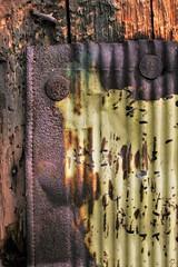 macro texture 03 (SqueakyMarmot) Tags: macro texture closeup vancouver alley rust decay strathcona utilitypole sheetmetal flickrphotowalk macrotextures macromondays priorstreet