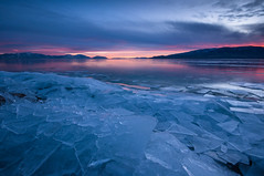 Iced Sunset***EXPLORE*** (Adam's Attempt (at a good photo)) Tags: pink blue sunset cold color reflection ice colors clouds reflections utah nikon colorful cloudy sharp utahlake d90 americanfork colorfulsunset boatharbor sheetsofice lr4 iceoff americanforkut utahlakesunset americanforkboatharbor icedsunset
