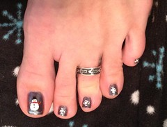 January 2013 Snowman Toes (martha.harmon) Tags: snowflake snow feet foot snowflakes snowman toes toe snowmen pedicure toering nailart toenail naildesign