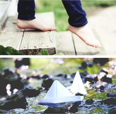 Creaking stairs and sailing ships. (anna.elizabeth.) Tags: inspiration green feet water girl stairs creek boats boat wooden diptych rocks warm ship bokeh jeans sail shining 52weeks creaking 52weeksofmusic littletalks ofmonstersandmen