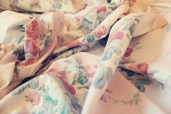Folds and Ripples (Lindsey.Elyse) Tags: roses white macro floral bed pattern sleep linen bedding bedsheets crinkle