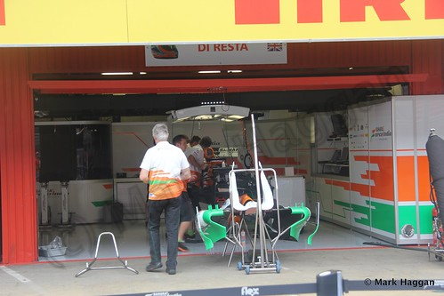 Paul Di Resta's Force India pit garage for the 2013 Spanish Grand Prix