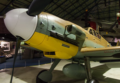 A Messerschmitt Bf 109E-3 at the RAF Museum, Hendon, (Anguskirk) Tags: uk england london fighter wwii airplanes historic german militaria rafmuseumhendon royalairforce messerschmittbf109e3 militaty