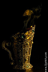 Censer VIII (TJ.Photography) Tags: lamp metal handle fire gold golden shiny glow perfume shine treasure stones metallic smoking burning flame burn ornament smell oriental orient smoker burner artifact aromatic item incense luster jewel odor artefact aroma engrave smelling censer cense